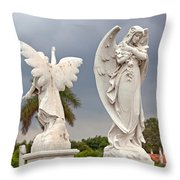 Two Angels With Cross Throw Pillow by Terry Reynoldson
