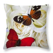 Two Butterflies On White Roses Throw Pillow by Garry Gay