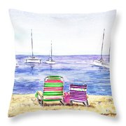 Two Chairs On The Beach Throw Pillow by Irina Sztukowski