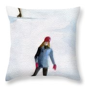 Two Girls Ice Skating Watercolor Painting Throw Pillow by Beverly Brown Prints