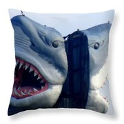 Two Headed Shark Throw Pillow by Randall Weidner