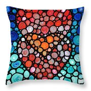 Two Hearts - Mosaic Art By Sharon Cummings Throw Pillow by Sharon Cummings