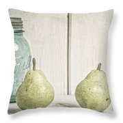 Two Pear Still Life Throw Pillow by Edward Fielding