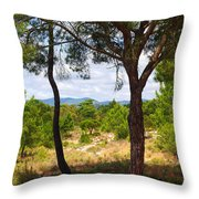 Two Pine Trees Throw Pillow by Carlos Caetano