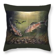 Two Rainbow Trout Throw Pillow by Donna Tucker