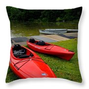 Two Red Kayaks Throw Pillow by Amy Cicconi