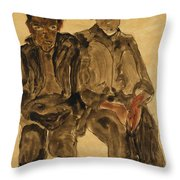 Two Seated Boys Throw Pillow by Egon Schiele