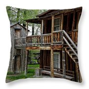 TWO STORY OUTHOUSE - NEVADA CITY MONTANA Throw Pillow by Daniel Hagerman