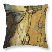 Two Studies Of Riders Throw Pillow by Edgar Degas