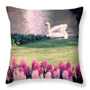 Two Swans Throw Pillow by Jasna Buncic