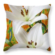 Two White Lilies Throw Pillow by Garry Gay