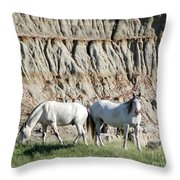 Two Wild White Stallions Throw Pillow by Sabrina L Ryan