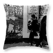 Two Women Walking Throw Pillow by Miriam Danar