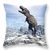 Tyrannosaurus Rex Dinosaur In A Snowy Throw Pillow by Elena Duvernay