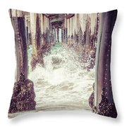 Under The Pier Vintage California Picture Throw Pillow by Paul Velgos