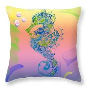 Under The Sea Horse Throw Pillow by Cheryl Young