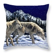 Wolves - Unfamiliar Territory Throw Pillow by Crista Forest