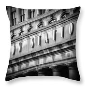 Union Station Chicago Sign In Black And White Throw Pillow by Paul Velgos