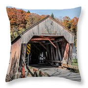 Union Village Covered Bridge Thetford Vermont Throw Pillow by Edward Fielding
