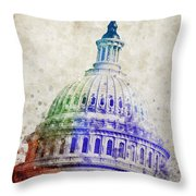 United States Capitol Dome Throw Pillow by Aged Pixel