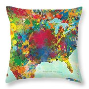 United States Map Throw Pillow by Gary Grayson