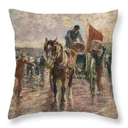 Unloading The Catch Throw Pillow by Harry Fidler