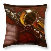 Unprotected Sax Throw Pillow by Sean Connolly