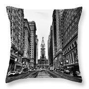Urban Canyon - Philadelphia City Hall Throw Pillow by Bill Cannon