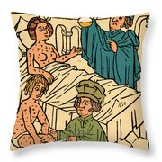 Uroscopy Patients With Syphilis 1497 Throw Pillow by Science Source