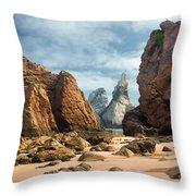 Ursa Beach Rocks Throw Pillow by Carlos Caetano