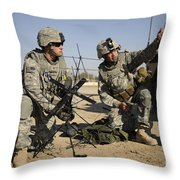 U.s. Army Soldiers Setting Throw Pillow by Stocktrek Images