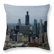 US Cellular and Wrigley Field Chicago BaseBall Parks 3 Panel Composite 02 Throw Pillow by Thomas Woolworth