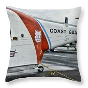 US Coast Guard Helicopter Throw Pillow by Paul Ward