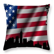 Usa American Flag With Statue Of Liberty Skyline Silhouette Throw Pillow by David Gn
