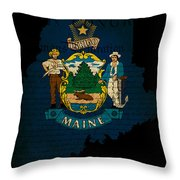 Usa American Maine State Map Outline With Grunge Effect Flag And Throw Pillow by Matthew Gibson