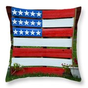 Usa Flag Throw Pillow by Kim Stafford