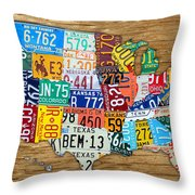 Usa License Plate Map Car Number Tag Art On Light Brown Stained Board Throw Pillow by Design Turnpike
