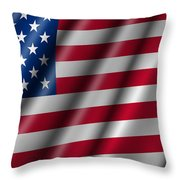 USA Stars and Stripes Flying American Flag Throw Pillow by David Gn
