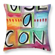 Use A Condom Throw Pillow by Linda Woods