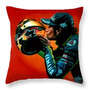 Valentino Rossi Portrait Throw Pillow by Paul Meijering