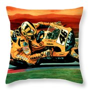 Valentino Rossi The Doctor Throw Pillow by Paul Meijering