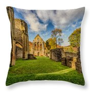 Valle Crucis Abbey Ruins Throw Pillow by Adrian Evans