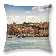 Port Of Valleta Throw Pillow by Maria Coulson