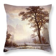 Valley Of The Yosemite Snow Fall Throw Pillow by Albert Bierstadt