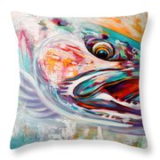 Vanishing Native - Steelhead Trout Flyfishing Art Throw Pillow by Savlen Art