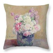 Vase Of Flowers Throw Pillow by Henri Lebasque