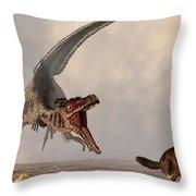 Velociraptor Chasing Small Mammal Throw Pillow by Daniel Eskridge