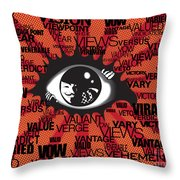 Vendetta Typography Throw Pillow by Sassan Filsoof