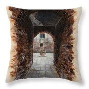 Venetian Courtyard 01 Elena Yakubovich Throw Pillow by Elena Yakubovich