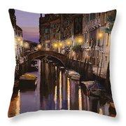 Venezia Al Crepuscolo Throw Pillow by Guido Borelli